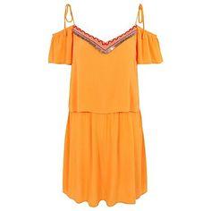 Mustard Sequin Trim Tie Shoulder Sundress | Women | George