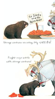 """""""Fought major battle with strange creatures"""" Diary of a *Christmas* Wombat by Jackie French Strange Creatures, Weird Creatures, Book Illustrations, Children's Book Illustration, Wombat, My Spirit Animal, Chapter Books, Animals Of The World, Picture Books"""