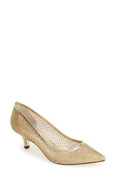 Adrianna Papell 'Lois' Mesh Pump available at Nordstrom - bridesmaid shoe Lace Pumps, Women's Pumps, Leather Socks, Leather Heels, Bridesmaid Shoes, Liner Socks, Gold Shoes, Adrianna Papell, Wedding Shoes