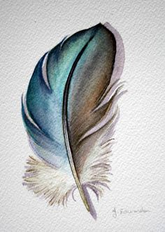 mystery feather watercolor. I love the colors that have been used....the blues look like the ones that Albrecht Dürer used for one of his works. The shape is not very realistic, and it looks like a cartoon. The material used was watercolor.