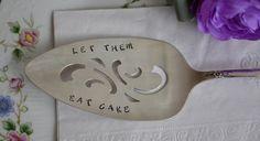 Hand Stamped Cake Server, Vintage Serving Utensil, Wedding Cake Server, Stamped Pie Server