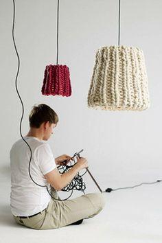 luminaire déco tissé en laine