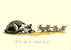 A fun card ' Do It' reproduced from a water colour by Anita Jeram for Two Bad Mice. Description from between.co.uk. I searched for this on bing.com/images