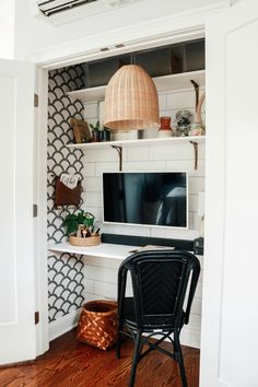 """Cloffice"" Closet turned into an Office- Small Space Hack – Nesting With Grace, – Home Office Wallpaper Home Office Closet, Guest Room Office, Bedroom Office, Closet Turned Office, Closet Space, Office In A Closet, Kitchen Office Nook, Closet Nook, Tiny Home Office"