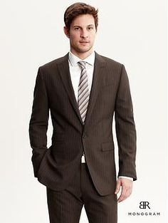 BR Monogram brown stripe Italian wool suit blazer | Banana Republic