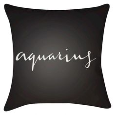 "Grey What's your Sign Aquarius Throw Pillow (18""x18"") - Surya, Gray"