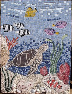 """18"""" x 24"""" Ceramic, porcelain, tempered glass, marble, aquarium gravel, shells, smalti"""