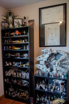Thought I'd give you guys a tour of my Star Wars collection Star Wars Room, Star Wars Art, Lego Star Wars, Action Figure Display Case, Lego Display, Display Cases, Geek Cave, Toy Rooms, Game Rooms