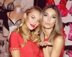 Lily Aldridge and Candice Swanepoel. Hair & makeup