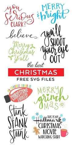 The BEST FREE Christmas SVG Files to download for Cricut and Silhouette machines. Download Christmas SVG Files for Shirts, Signs, DIY Gifts and More! #cricut #silhouettecameo #freesvg #svgfiles #christmasshirt #christmasmovie #freecutfiles #svgcutfiles #diyshirt #diychristmasshirt #ironon #htv