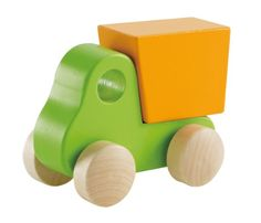 Hape - Little Dump Truck Wooden Toy Vehicle, Green Hape https://www.amazon.com/dp/B006WZNWMU/ref=cm_sw_r_pi_dp_3LLJxbN0XA5D6