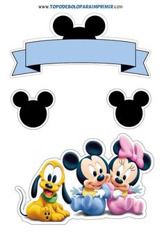 Bolo Mickey Baby, Festa Mickey Baby, Mickey E Minie, Mickey Party, Mickey Mouse Birthday, Disney Mickey, Minnie Mouse Decorations, Disney Clipart, Little Poney