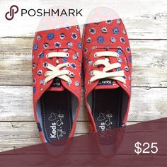 Keds x Taylor Swift Floral Print Sneaker, Size 7.5 Adorable pair of Taylor Swift Kate Spade sneakers in red with a blue flower print. These shoes are in great used condition, with minimal wear to the outsoles. Laces are in good condition. The shoe has barely any signs of wear! Reasonable offers accepted. Does not come in the original box. Keds Shoes Sneakers