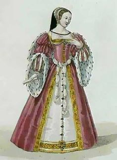 Diane di Portiers ~  Mistress of Henri II. She is wearing French fashions from the 1530's. The French sleeves still have a fir-trim but now are attached to 'slashed' sleeves as opposed to covering a thin sleeve, as still worn in England. The skirts also have a round, wide shape. Diane wears the common headwear of the time, a 'French Hood'.