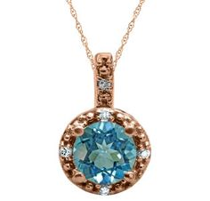 Round Cut Blue Topaz Birthstone Diamond Rose Gold Pendant Available Exclusively at Gemologica.com