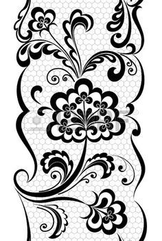Black And White Lace Flowers Leaves Isolated On