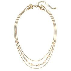 LC Lauren Conrad Freshwater Cultured Pearl Multistrand Necklace (360 ARS) ❤ liked on Polyvore featuring jewelry, necklaces, pearl, multi strand necklace, fresh water pearl jewelry, gold tone necklace, cultured pearl jewelry and cultured pearl necklace