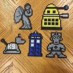 Who knew making stuff with perler beads could be so much fun? I just finished these five Dr. Who characters at the request of @atericat and might very well make some more to put into my shop! #perlerbeads #perlers #perlerbeadart #perler #drwho #weepingangel #cyberman #dalek #k-9 #tardis #whovian