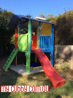 Such a bright and fun fort. Lots of bright, cool colours #Slide #Sandpit #Play #Fun #MyCubby #CubbyHouse #Cubbies #Cubby #OutdoorPlay #Kids #AussieKids #HappyKids #Backyard