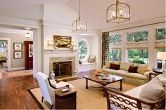 White Great Room with Lanterns and Fireplace | ECOX Creative