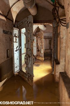 Flooded blast doors in a pre-WWII Maginot Line bunker, France Re-pinned by HistorySimulation.com