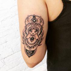 New Tattoos, Small Tattoos, Cool Tattoos, Tatoos, Babushka Tattoo, Russian Doll Tattoo, Nesting Doll Tattoo, Ukrainian Tattoo, Elegant Tattoos