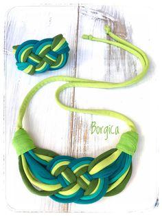 Verde kiwi set collar y pulsera joyería de reciclado textil