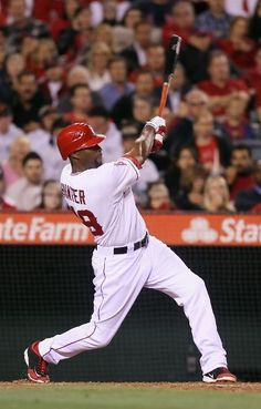 Game #24 5/1/2012: Torii Hunter #48 of the Los Angeles Angels of Anaheim hits an RBI single against the Minnesota Twins in the third inning at Angel Stadium of Anaheim on May 1, 2012 in Anaheim, California. (Photo by Jeff Gross/Getty Images)