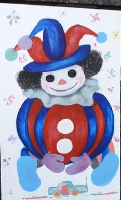 The clown I did this along with a lot more for a kids nursery in a hotel. Oil on wood