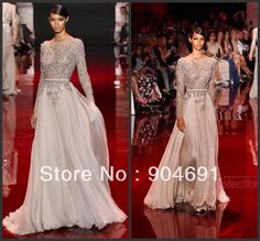 Champagne Lace Prom Dresses Boat Neck See Rhrough Zuhair Murad Dresses Sexy Long Sleeves Special Occasion Prom Dress E1311704