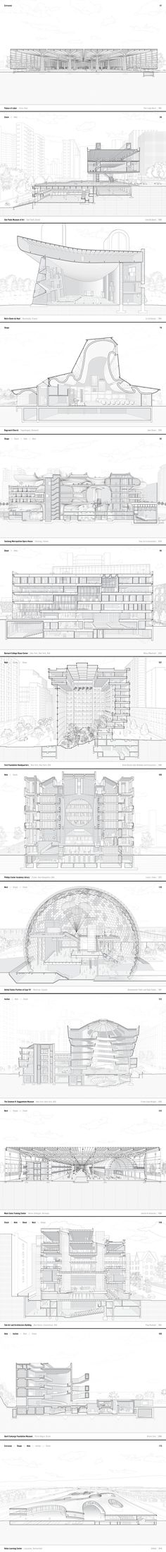 Some sections of the famous architecture sections. Architecture Panel, Architecture Graphics, Architecture Drawings, Architecture Details, Landscape Architecture, Famous Architecture, Sectional Perspective, Planer Layout, Section Drawing
