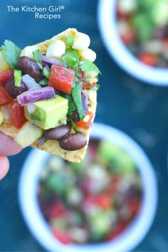 Wow! Secretly healthy party food in 15 min = empty bowl! Mexican Black Bean Corn Avocado Salsa is a vegan, gluten free dip! thekitchengirl.com