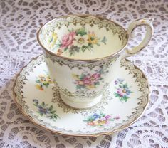 English Crown Staffordshire Cup and Saucer by chanteclairInteriors,OH MY HEART