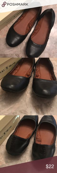 Lucky Brand Leather Ballet Flats Lucky Brand black leather ballet flats. Style LP-Erin. Size 7.5M. In very good used condition. Only parting with these as my feet grew during my last pregnancy. Lucky Brand Shoes Flats & Loafers