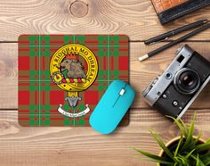 Rubber mouse mat with MacGregor clan crest and tartan - only from ScotClans