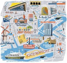 Rotterdam map for National Geographic Traveller by Anna Simmons