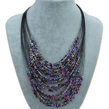 Splendid Multi Thread Layer Glass Beads Bib Statement Necklace Pendant SS220H