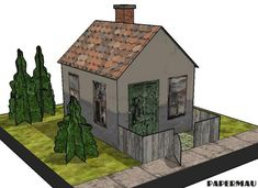 Simple House Paper Model With Bushes - by Papermau - Download Now