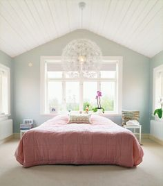 doesnt this chandelier look like dandelions? blush pink and gray slope ceiling bedroom