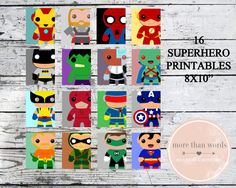"SUPERHERO 8x10"" Printables 16 Comic Characters Print at home Instant Download"
