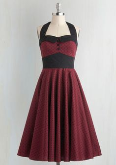 Budding Starlet Dress in Dots - Red, Black, Polka Dots, Buttons, Halter, Fit & Flare, Rockabilly, Pinup, 50s, 60s, Party, Full-Size Run, Long