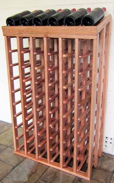 Classic 60 bottle wine rack with inclined display top - hardwood - out of stock - eta Alcove Cupboards, Woodworking Bench Plans, Workbench Plans, Wine Cellar Design, Vintage Shelf, Wine Storage, Wood Projects, Hardwood, Outdoor Structures