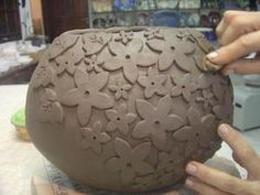 wheel thrown pot with cookie cutter shapes by allie
