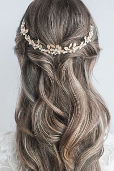 Cool styling of our low profile Bliss bridal tiara as a back crown. Opal crystals, enamelled leaves & pearls add effortless chic to wedding day hair. Laura Jayne Bliss Tiara #tiara #LauraJayne #wedding