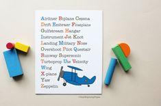 Airplane Alphabet Boy Nursery Art Poster Print by HopSkipJumpPaper