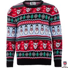 Comic Xmas - Black - Mens Christmas Sweater by British Christmas Jumpers (Large) Mens Christmas Jumper, Kids Christmas Sweaters, Ugly Holiday Sweater, Ugly Sweater, Couple Christmas, Christmas Décor, Christmas Morning, Comic, Christmas Characters