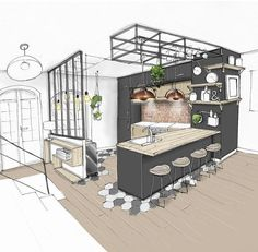 Another little kitchen to show you in a bistro style … – tacheau melanie Hello friends ! Another little kitchen to show you in a bistro style … – tacheau melanie – Küchen Design, Design Case, Design Ideas, Room Interior, Interior Design Living Room, Bistro Interior, Interior Design Sketches, Kitchen Room Design, Industrial Kitchen Design