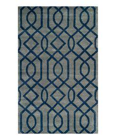 Another great find on #zulily! Blue & Dark Gray Hand-Tufted Wool Rug #zulilyfinds