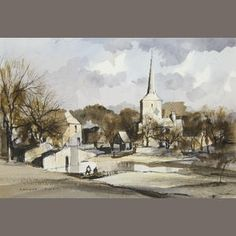 Rowland Hilder (British, 1905-1993) Eynesford, Kent signed 'Rowland Hilder' (lower left), watercolour and pen and ink  24 x 33cm (9 7/16 x 1...