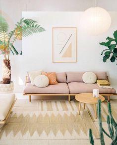 #home #livingroom #pastel #pink #homeideas #plants #couch #cushions #lounge #room #ideas #boho #pillows